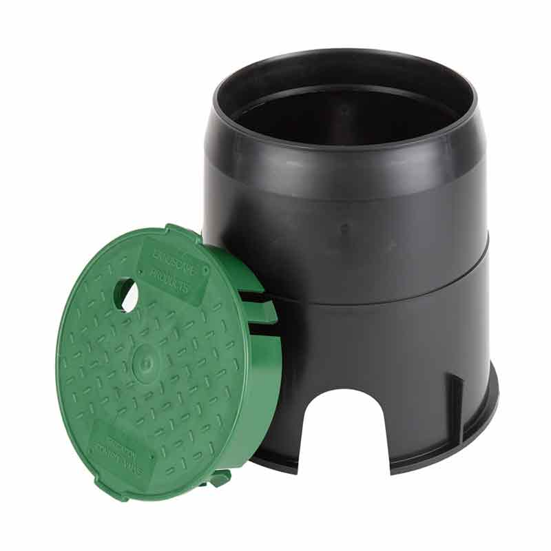 6-inch Black Round Valve Box with Green Lid