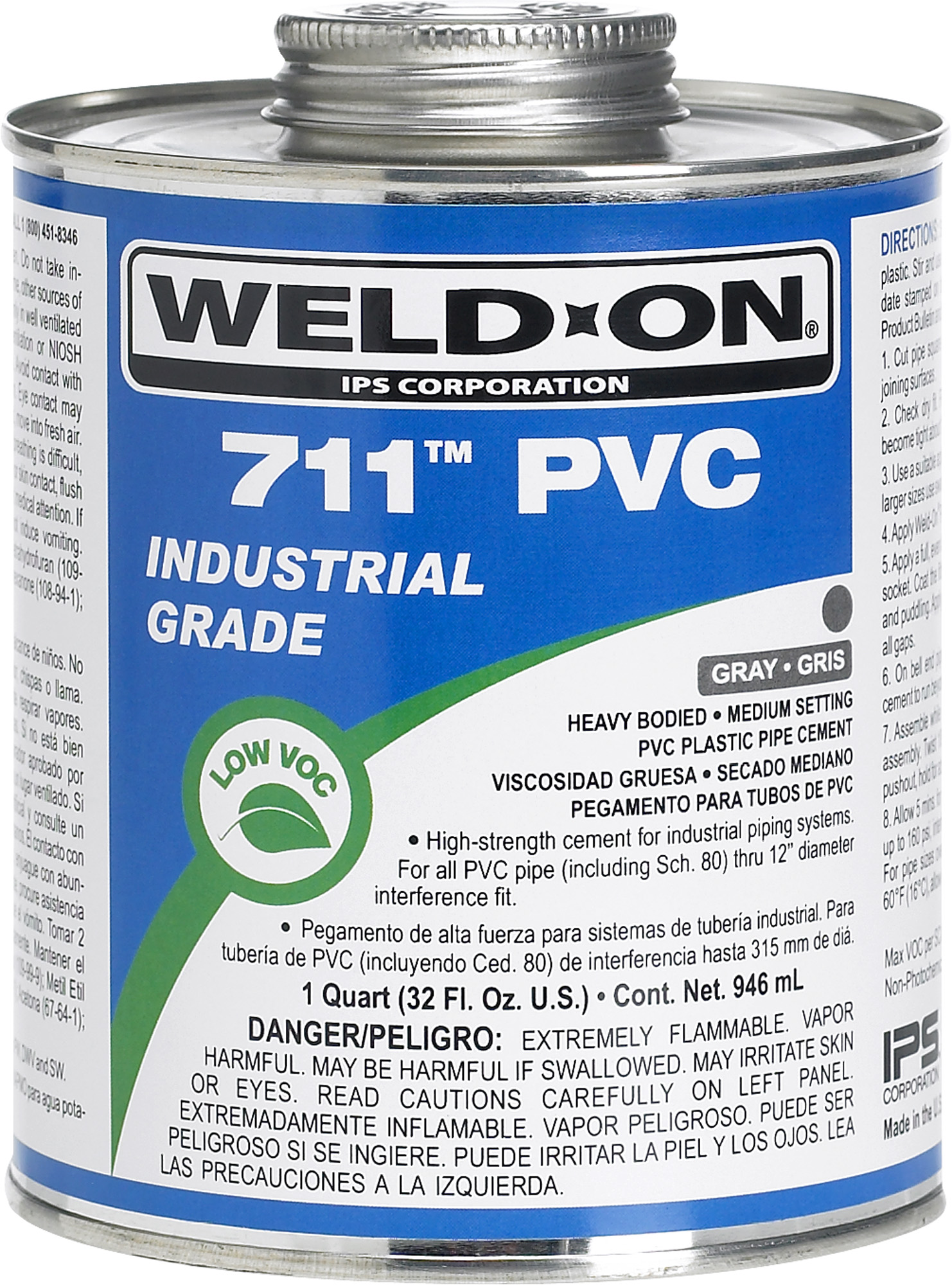 711 Gray PVC Cement with Brush - 1/2 pint