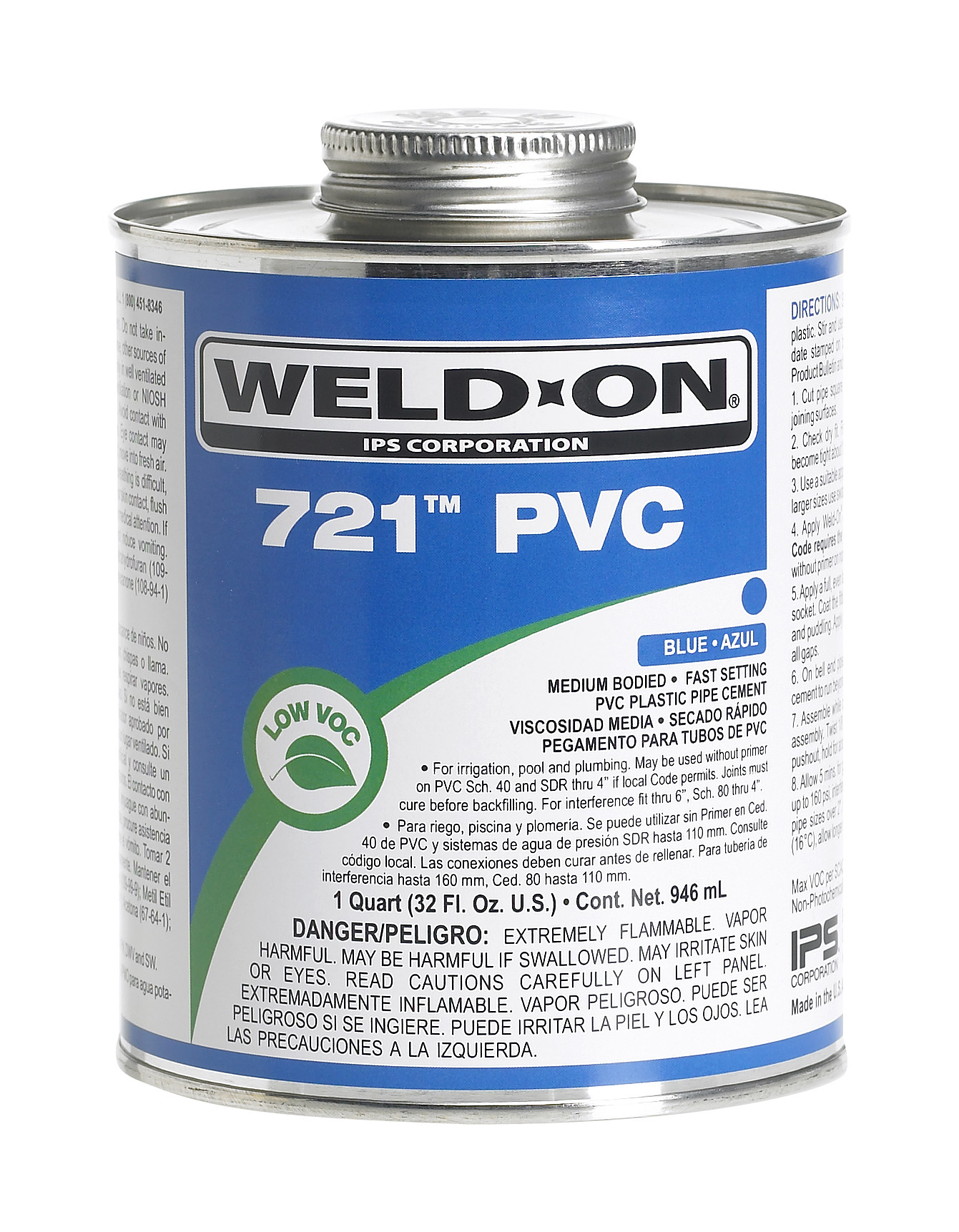 721 Blue PVC Cement with Brush - 1/2 pint
