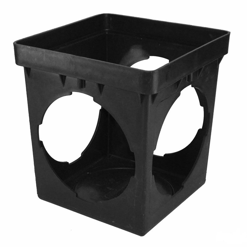 9-inch Square Catch Basin w/ 4 Openings Black