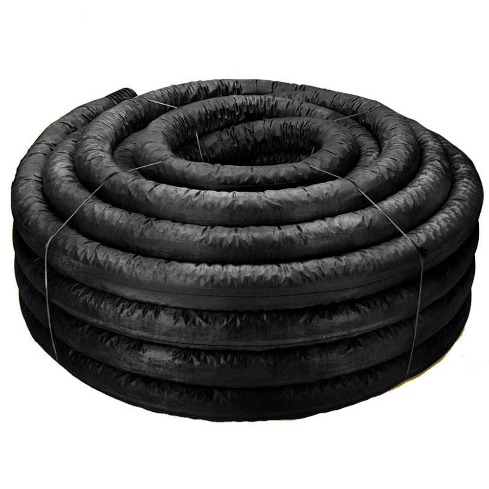 3-inch Flexdrain Corrugated Pipe with Poly Filter Sock - 100-foot Roll