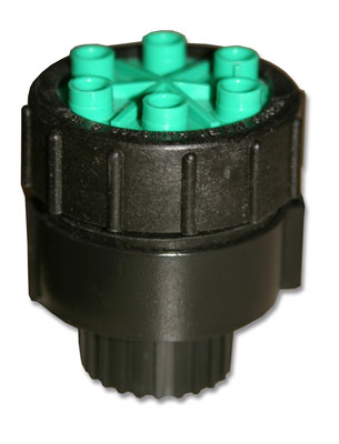 ML-206 1/2 GPH 6 Outlet Green 1/2 Inch FPT Cap Emitter