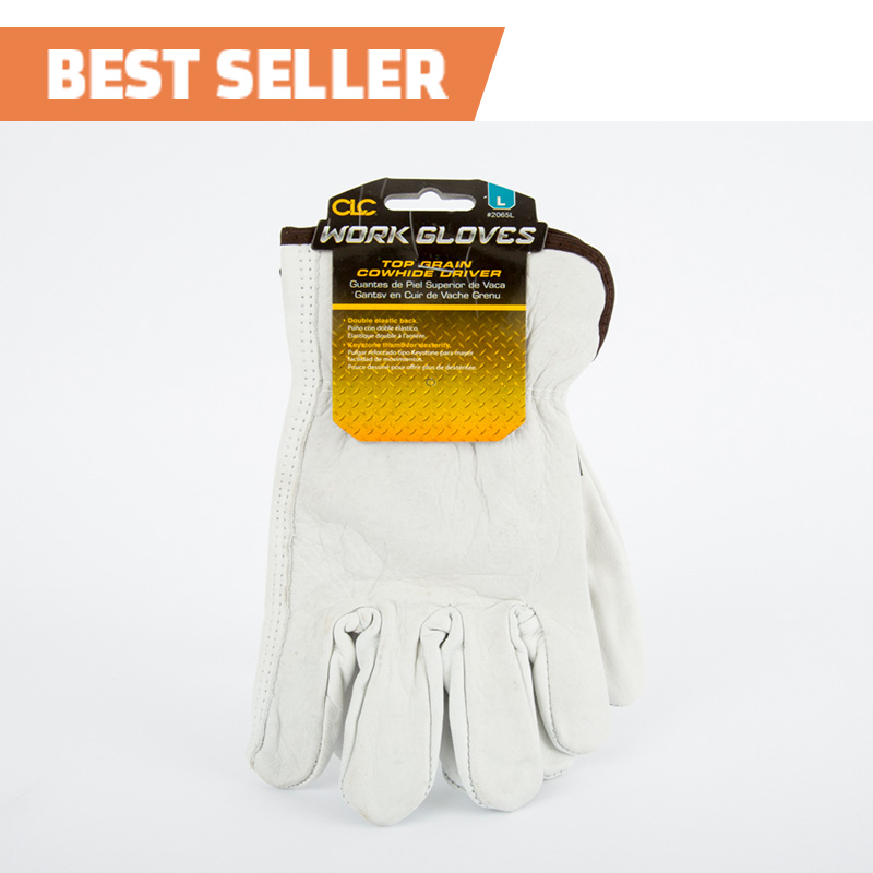 Cowhide Driver Work Gloves - Large