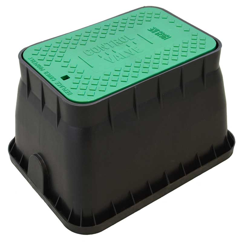 12-inch Rectangle Black Valve Box with Green Lid