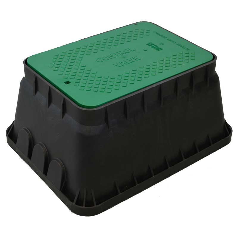 12-inch Jumbo Rectangle Black Valve Box with Green Lid