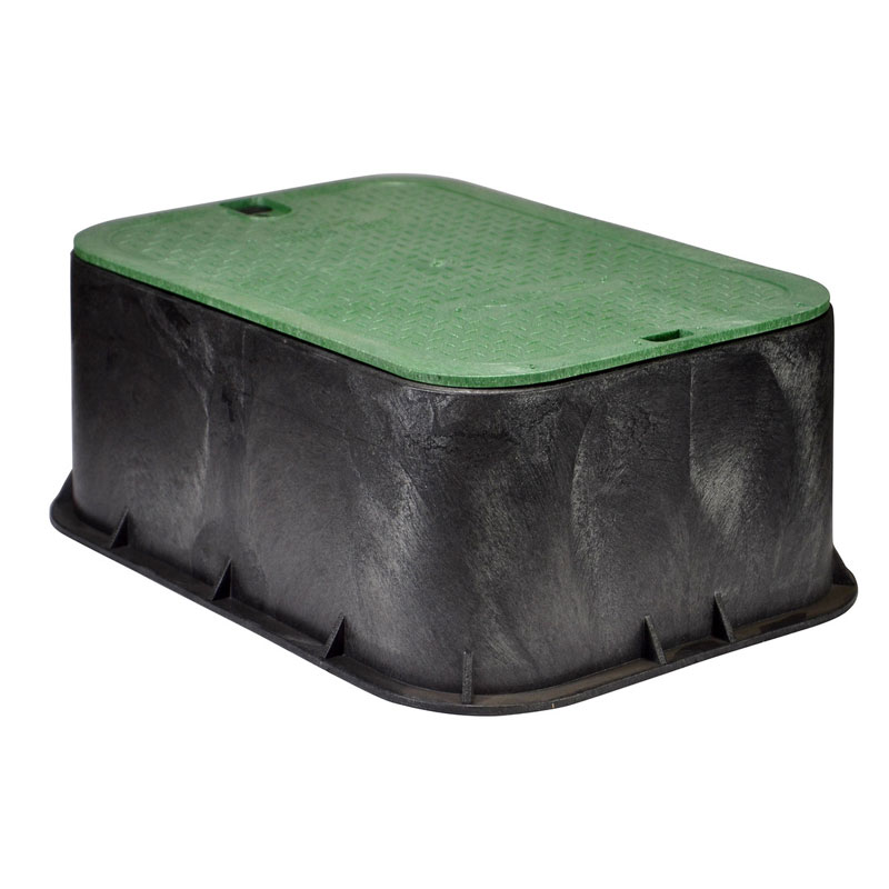 14 x 19 Inch Black Valve Box Extension with Green Lid