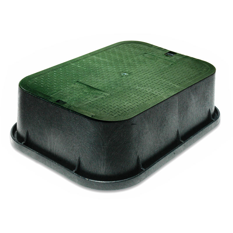 13 x 20 Inch Black Valve Box Extension with Green Lid