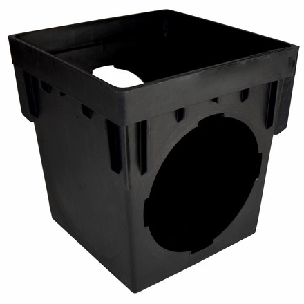9-inch Square Catch Basin with 2 Openings - Black