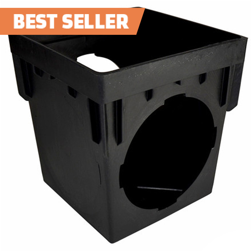 12-inch Square Catch Basin with 2 Openings - Black