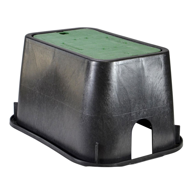 10-inch x 15-inch Rectangular Black Valve Box with Green Lid