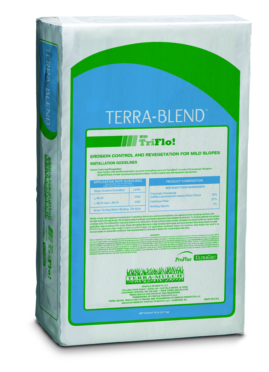 Terra-Blend Hydro-Mulch with UltraGro - 50 lb. Bale