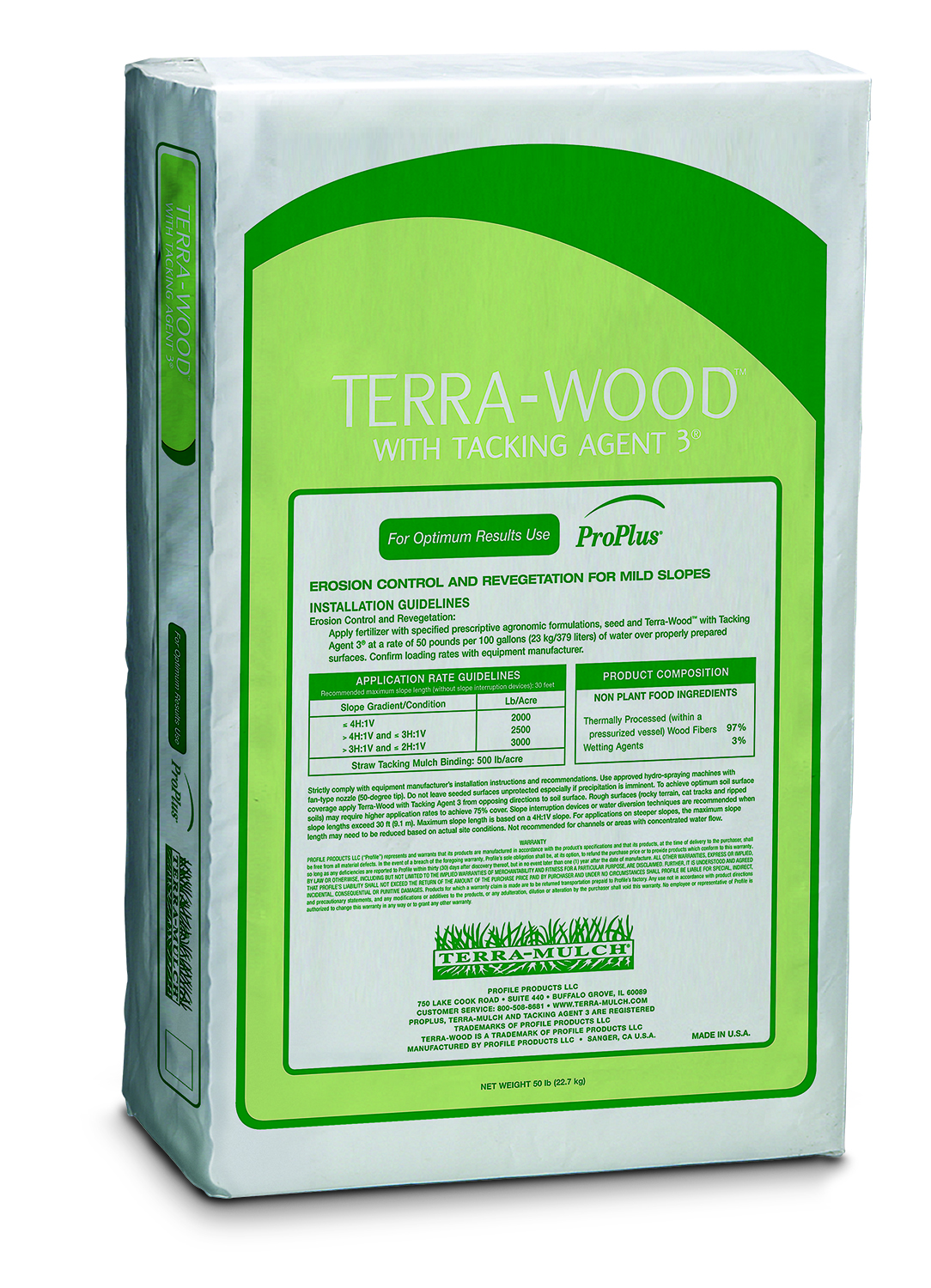 Terra-Wood Hydro-Mulch with Tacking Agent 3 – 50 lb. Bale