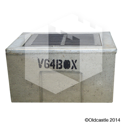 V64 Concrete Drain Box Cast Iron Grate
