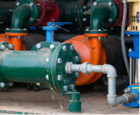 Green pump with galvanized fittings