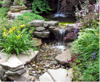 Small pondless water feature with waterfall