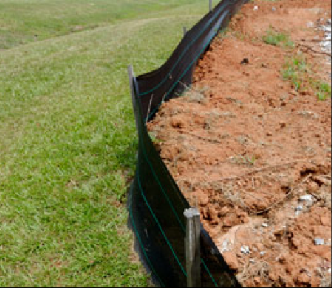A silt fence barrier