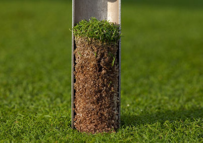 Tool removing small cylinder of dirt with turf on top