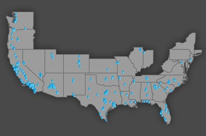 Map of Ewing locations in U.S.
