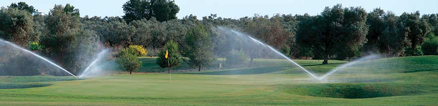 Golf fairway with large rotors irrigating