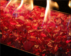 A close-up of fire glass in a fire pit