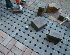 Permeable pavers being installed