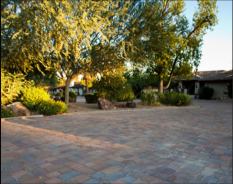 A large paved patio