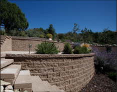 Close-up of retaining walls