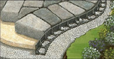 Edge restraints holding back paver stones