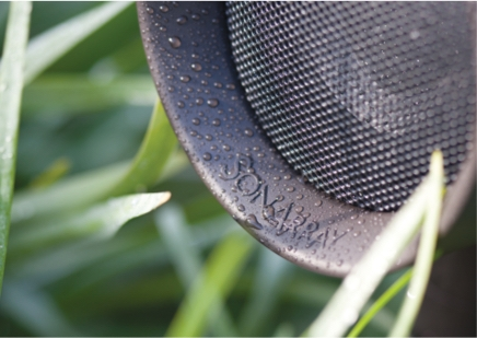 A close-up of an outdoor speaker