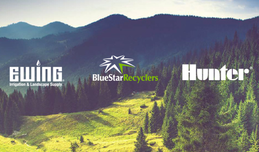 Ewing, Hunter and Blue Star Recylcers logsos on picture of mountains with evergreen trees during sunset