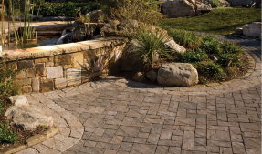 Paver patio with curving edges