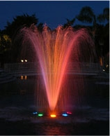A water and lighting display