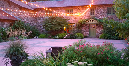 Patio with bistro lighting