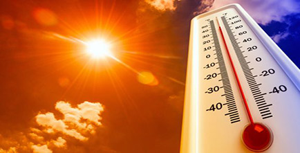 Image of a thermometer and hot sun