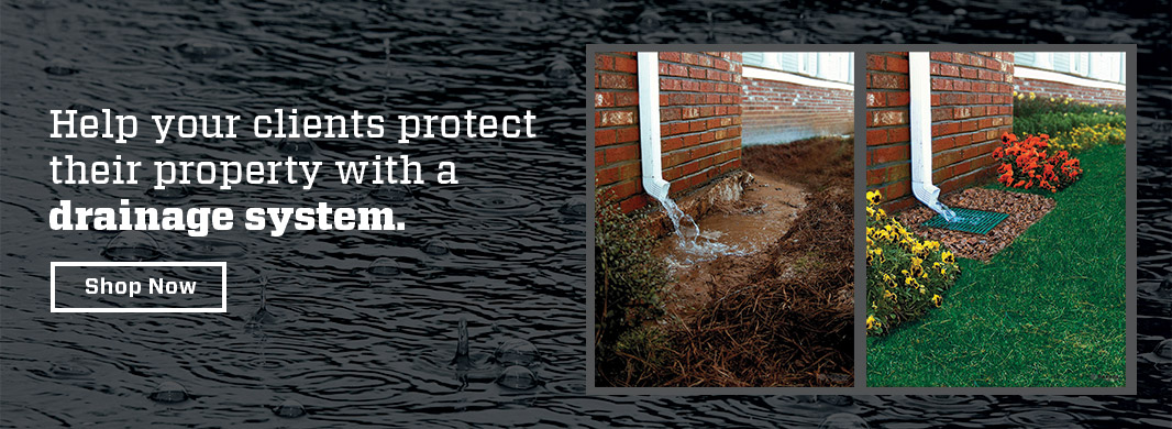 Side by side image of home without a drainage system vs home with drainage system