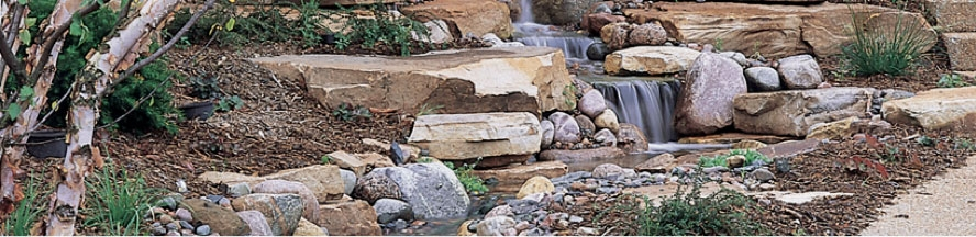 A waterfall hardscape display