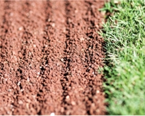 A close-up of a baseball infield